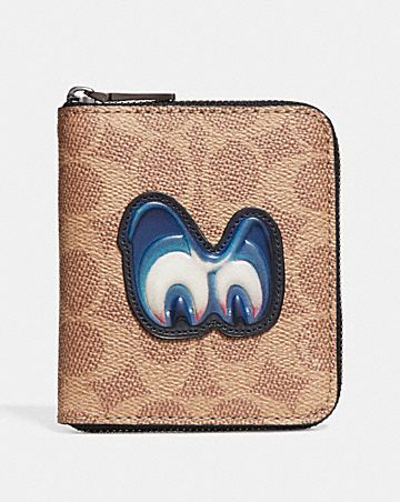DISNEY X COACH SMALL ZIP AROUND WALLET IN SIGNATURE WITH PATCH