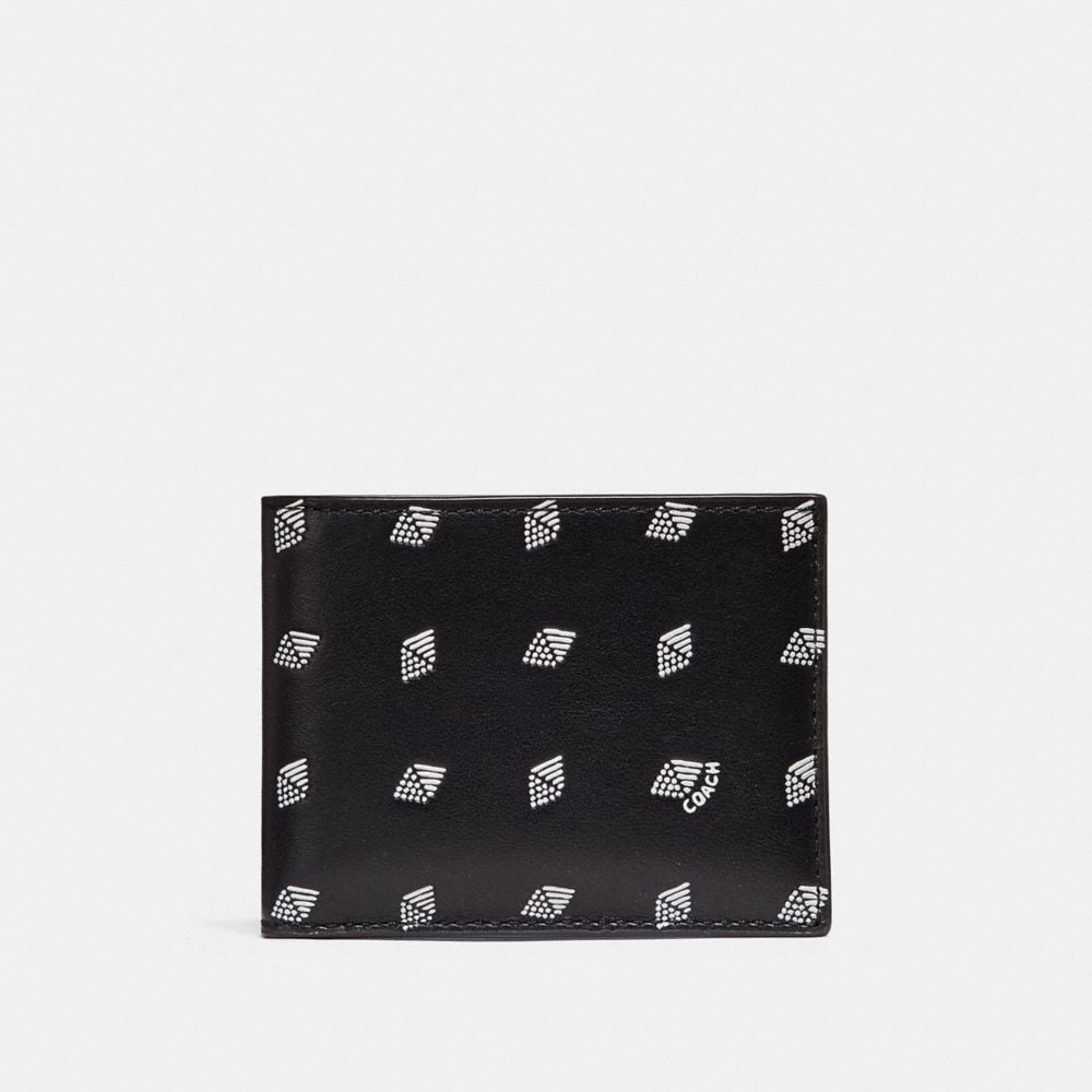 SLIM BILLFOLD WALLET WITH DOT DIAMOND PRINT