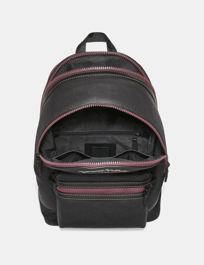 Coach Disney X Coach Academy Backpack With Poison Apple Graphic Black/Matte Black Men Bags Backpacks Alternate View 2