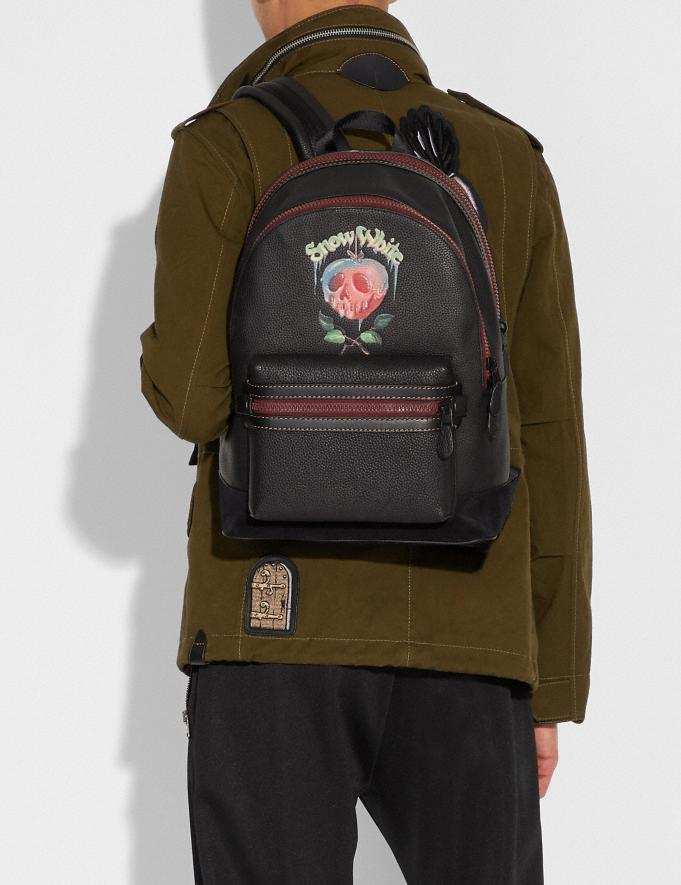 Coach Disney X Coach Academy Backpack With Poison Apple Graphic Black/Matte Black Men Bags Backpacks Alternate View 3