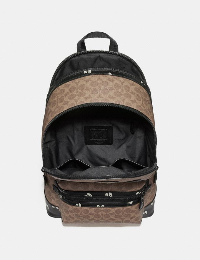 Coach Disney X Coach Academy Backpack in Signature Patchwork Khaki/Matte Black Men Bags Backpacks Alternate View 2