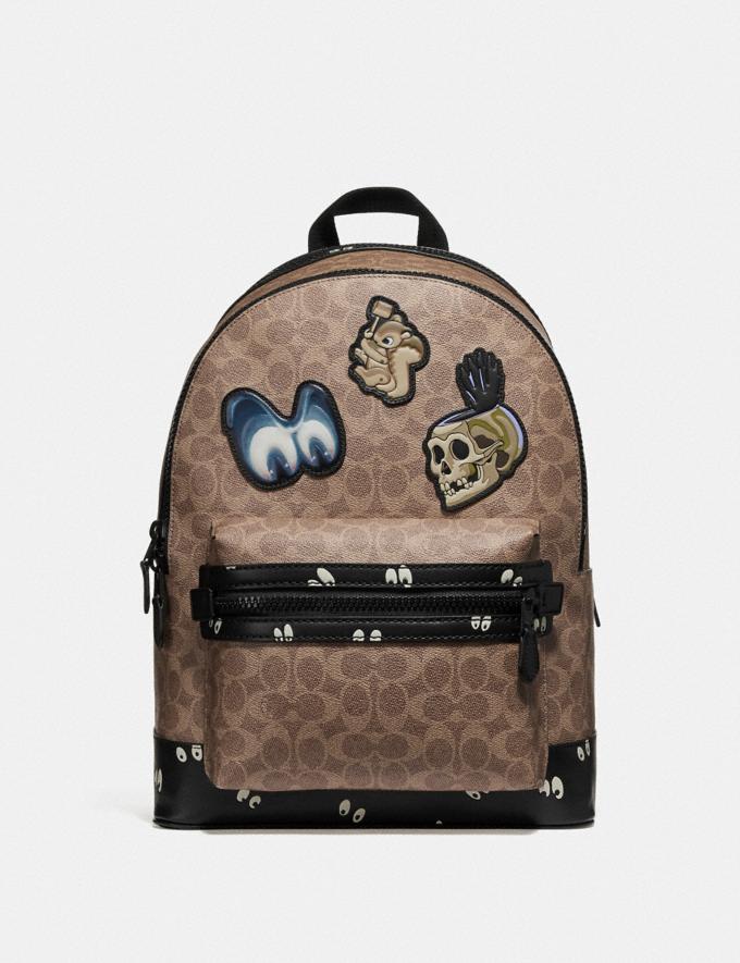 Coach Disney X Coach Academy Backpack in Signature Patchwork Khaki/Matte Black Men Bags Backpacks