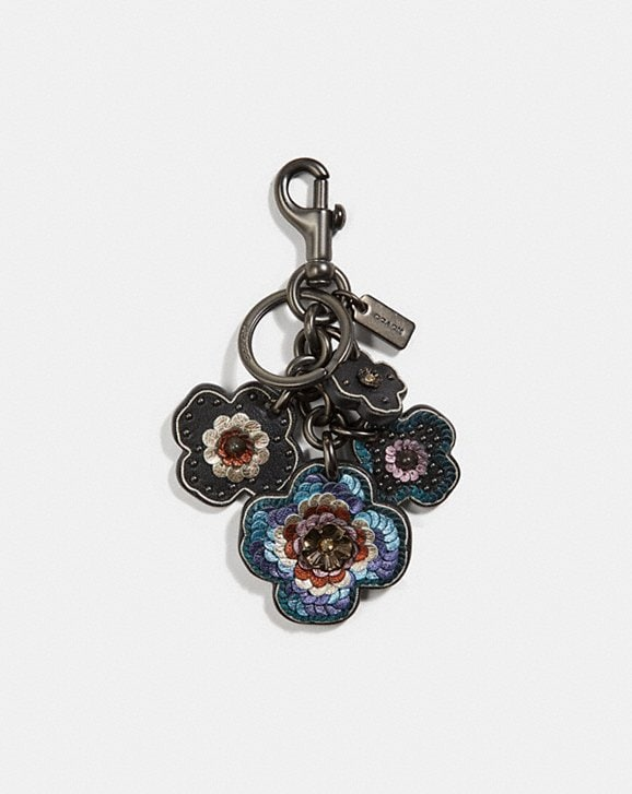 Coach Leather Sequin Lique Tea Rose Multi Bag Charm