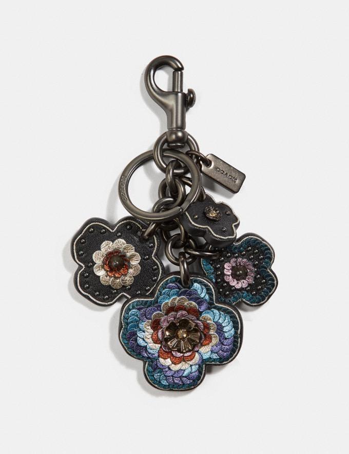 Coach Leather Sequin Applique Tea Rose Multi Bag Charm Black/Black SALE Women's Sale Accessories