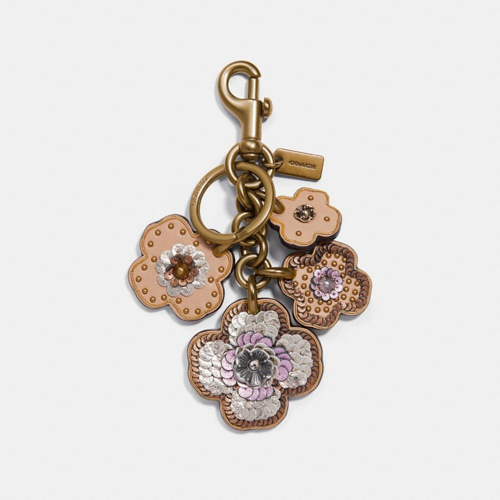 LEATHER SEQUIN APPLIQUE TEA ROSE MULTI BAG CHARM
