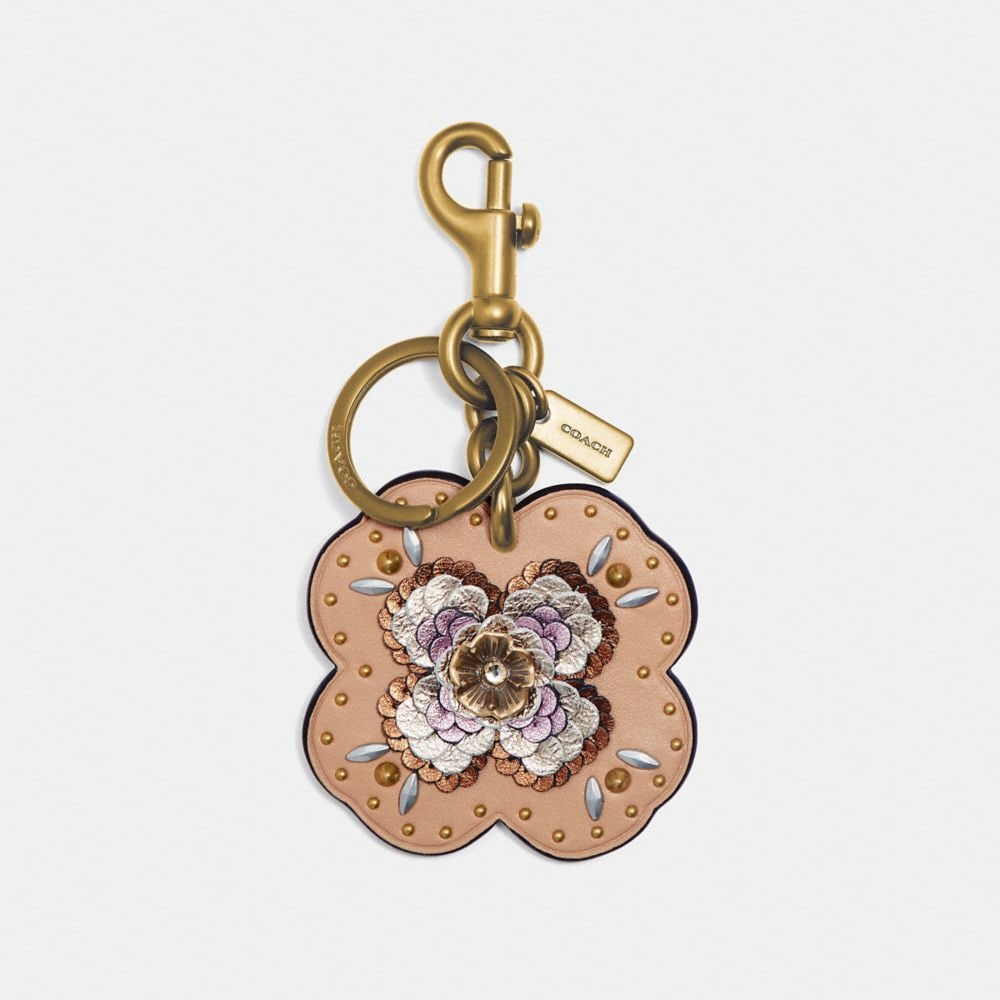Coach Leather Sequin Applique Tea Rose Bag Charm