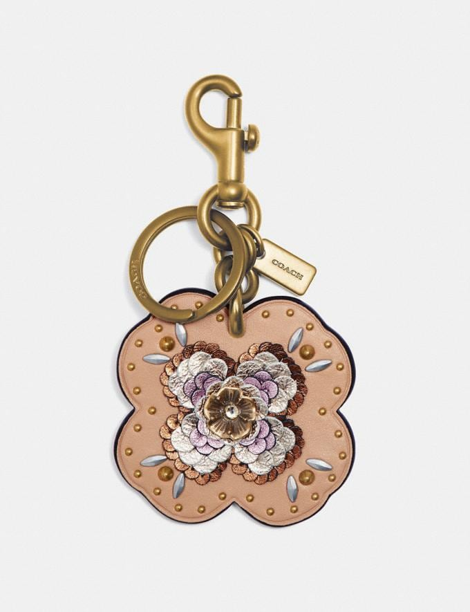 Coach Leather Sequin Applique Tea Rose Bag Charm Beechwood/Gold SALE Women's Sale Accessories