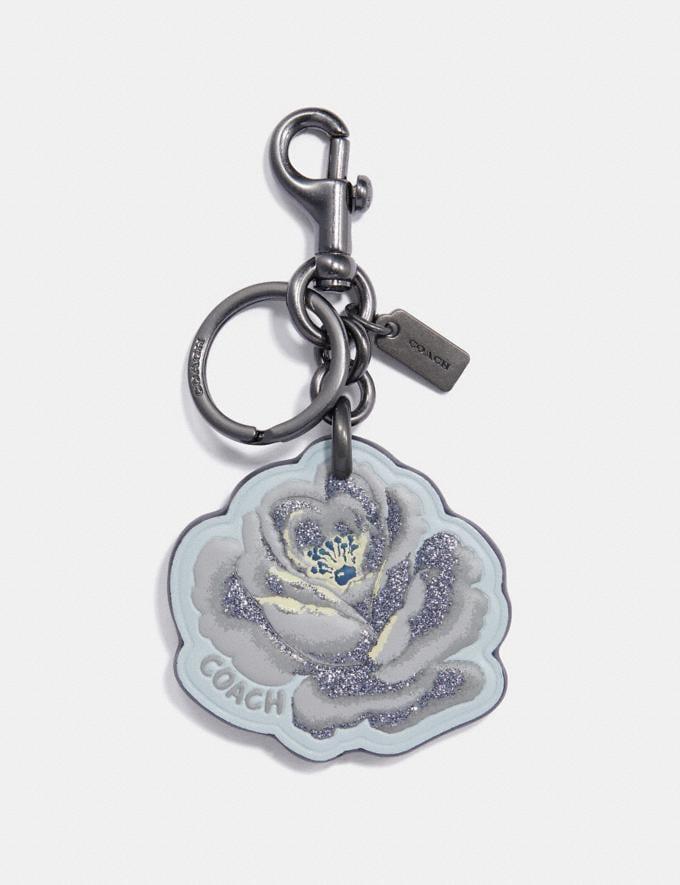 Coach Rose Floral Bag Charm Blue/Black Women Accessories Bag Charms & Key Rings