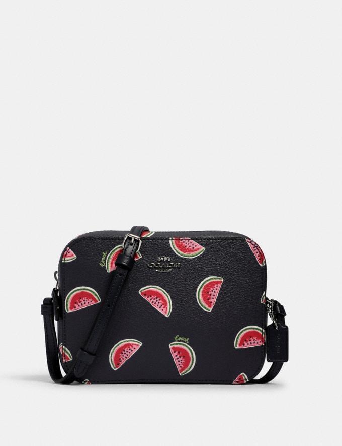 Coach Mini Camera Bag With Watermelon Print Sv/Navy Red Multi