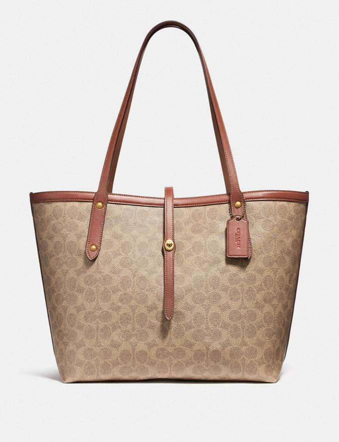 1ff22990d7e Coach Market Tote in Signature Canvas Tan Rust/Brass Women Bags Totes