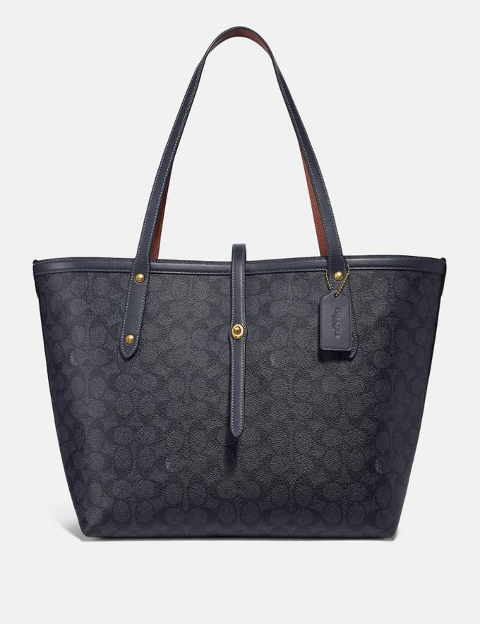 32200d2400e Coach Market Tote in Signature Canvas Charcoal/Midnight Navy/Gold Women  Bags Totes