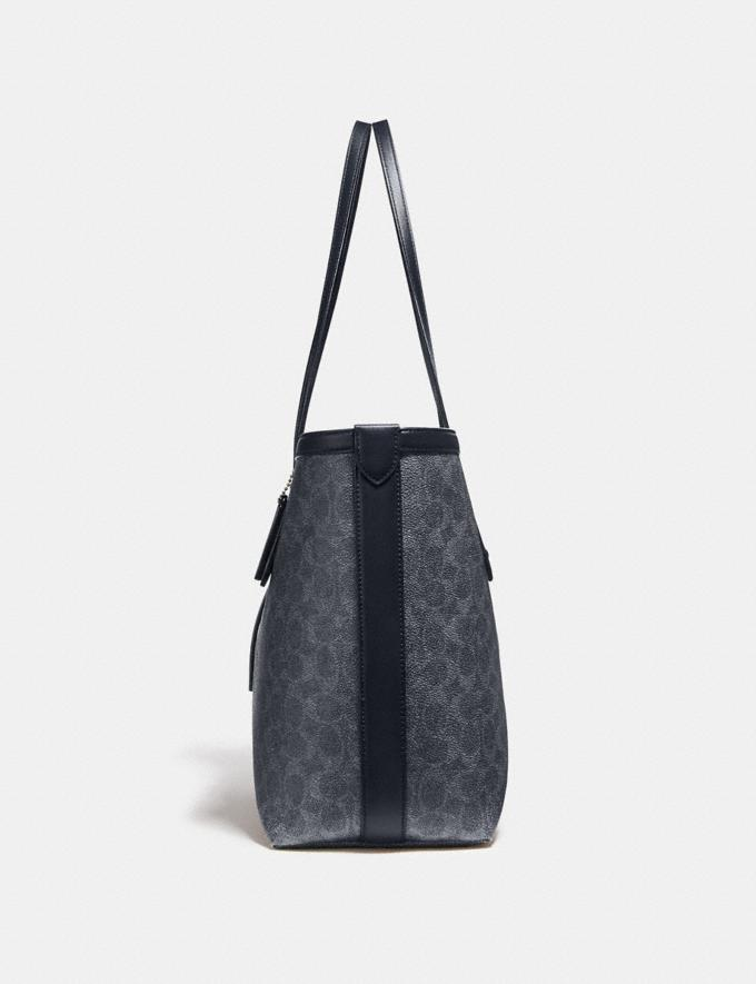 Coach Market Tote in Signature Canvas Charcoal/Midnight Navy/Gold Women Bags Totes Alternate View 1