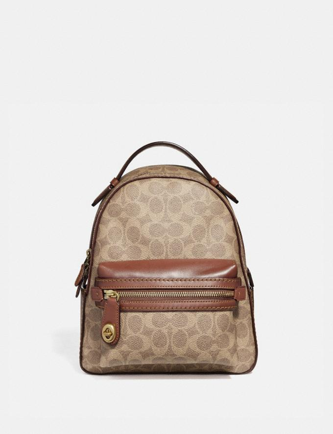 Coach Campus Backpack 23 in Signature Canvas Tan Rust/Brass Women Collection Signature