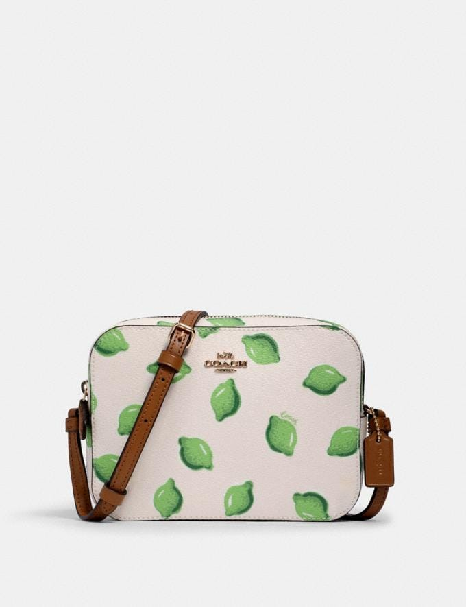 Coach Mini Camera Bag With Lime Print Im/Chalk Green Multi What's New