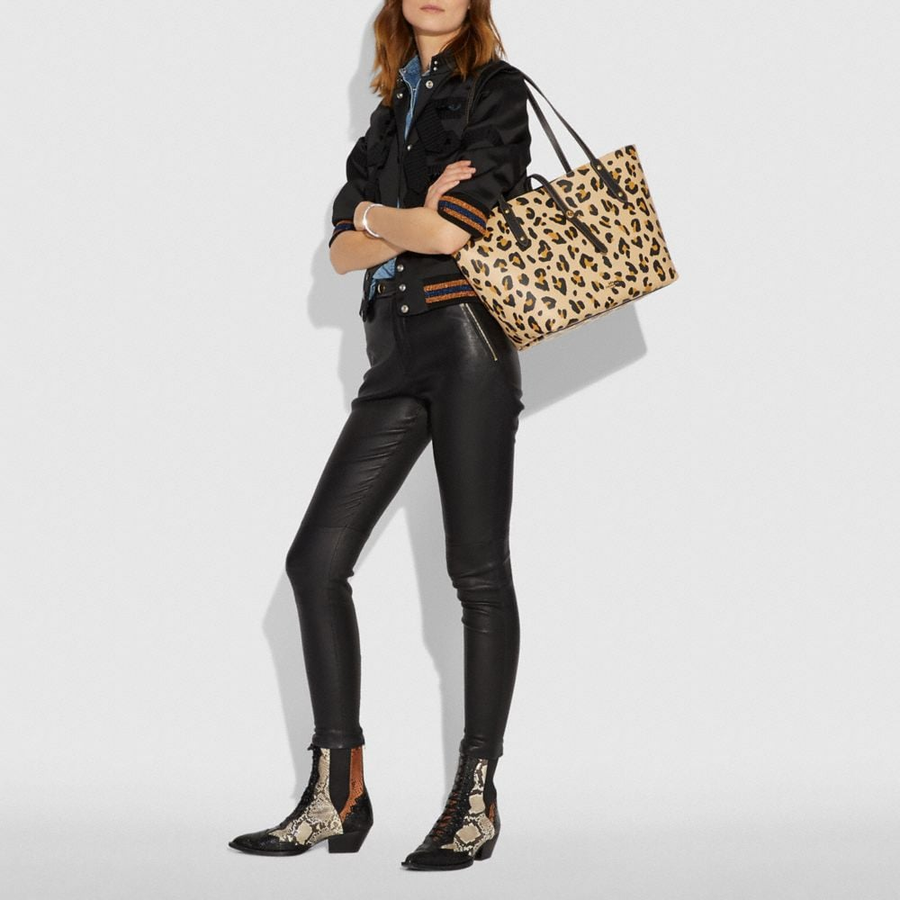 Coach Market Tote With Leopard Print Alternate View 3