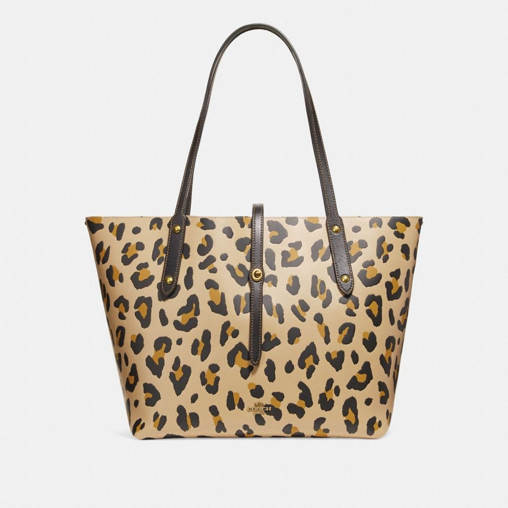 MARKET TOTE WITH LEOPARD PRINT