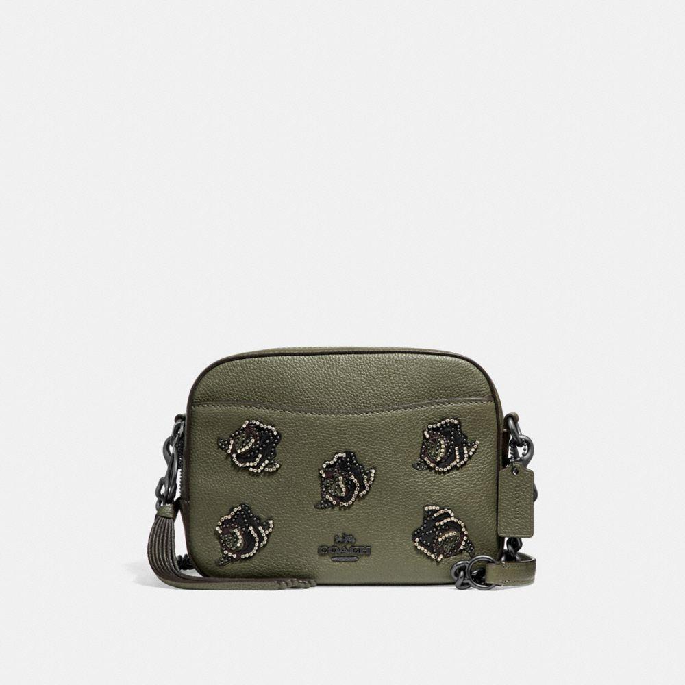 Coach Camera Bag With Rose Applique