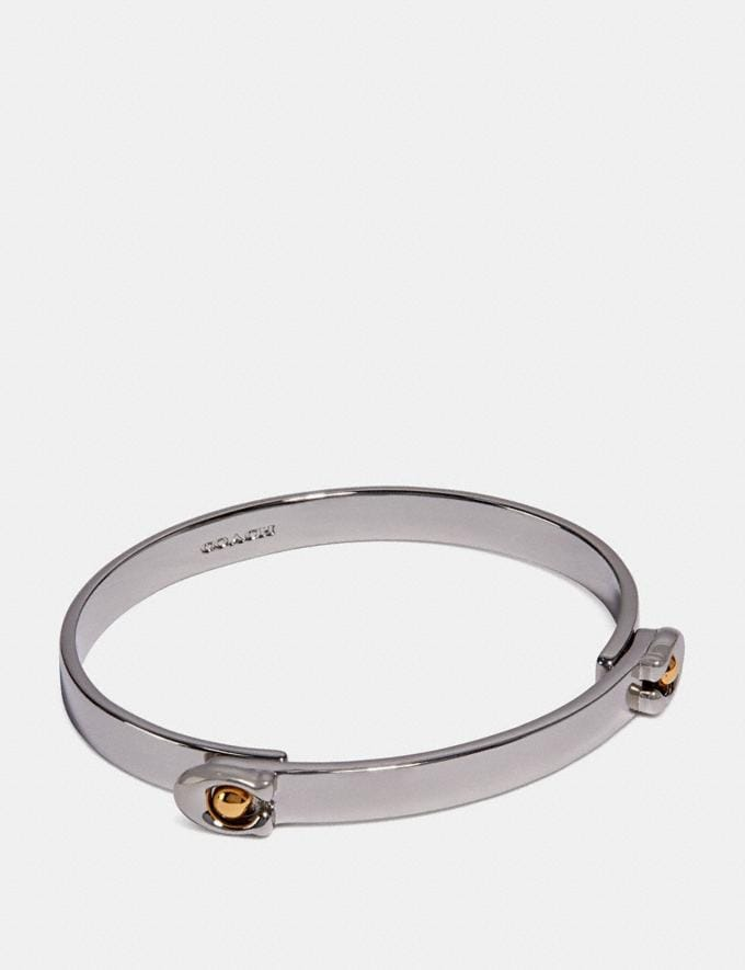 Coach Sculpted Signature Tension Hinged Bangle Gold/Silver Women Accessories Jewellery Bracelets