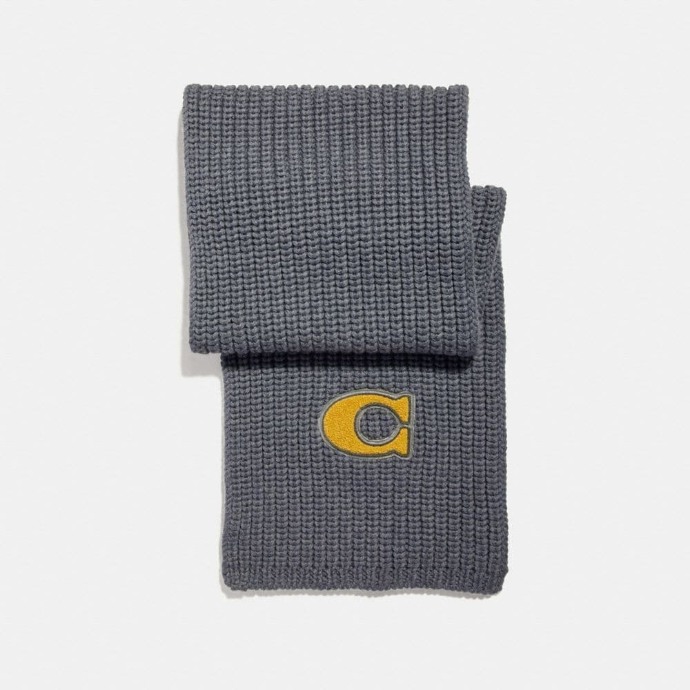 SIGNATURE PATCH KNIT SCARF