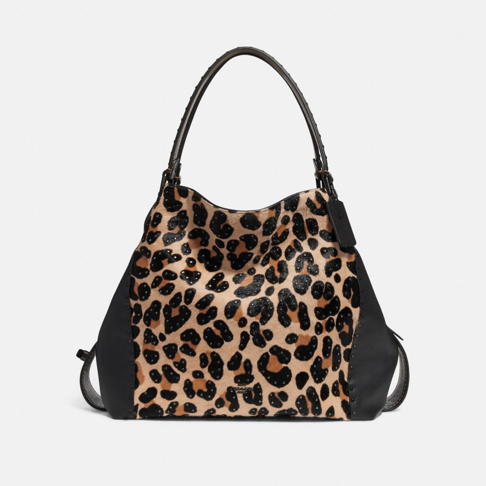 EDIE SHOULDER BAG 42 WITH EMBELLISHED LEOPARD PRINT