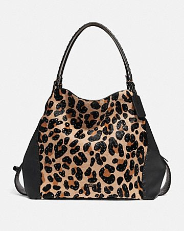 E Shoulder Bag 42 With Embellished Leopard Print