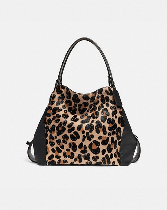 Coach E Shoulder Bag 42 With Embellished Leopard Print