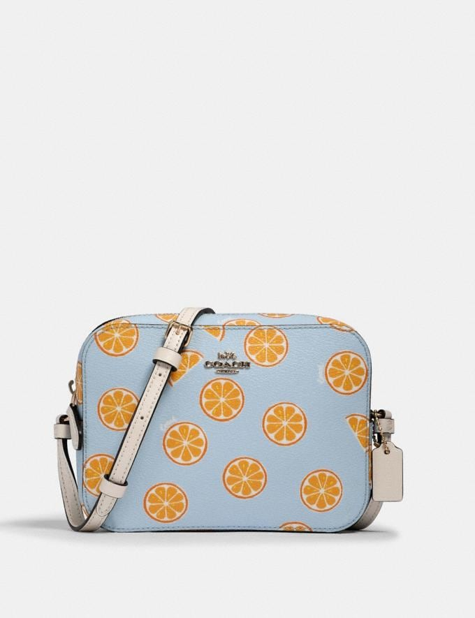 Coach Mini Camera Bag With Orange Print Im/Orange/Blue What's New