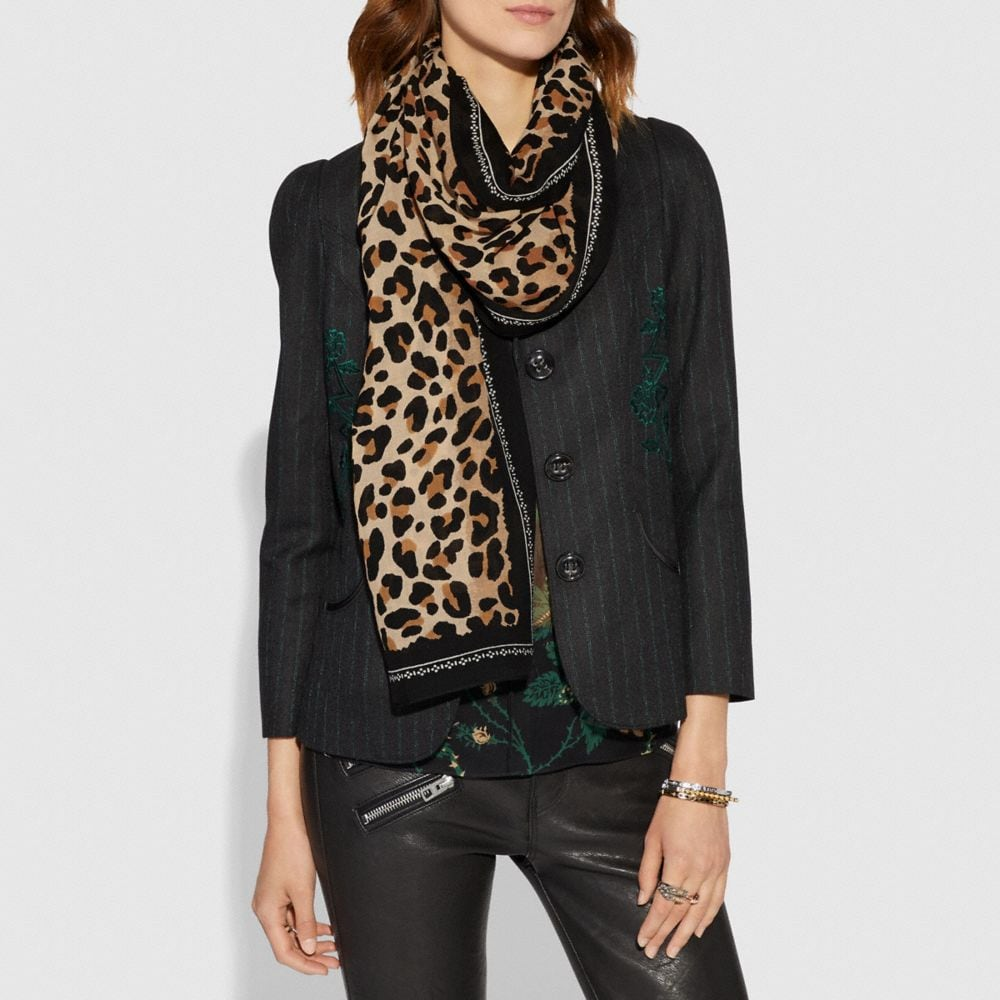 Coach Leopard Print Scarf Alternate View 1
