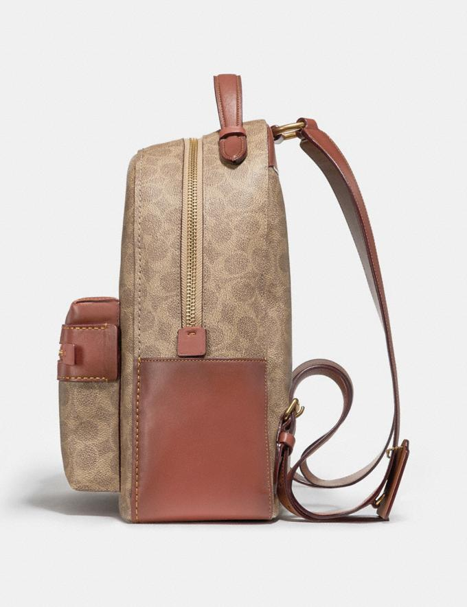 Coach Campus Backpack in Signature Canvas Tan Rust/Brass Men Bags Signature Bags Alternate View 1