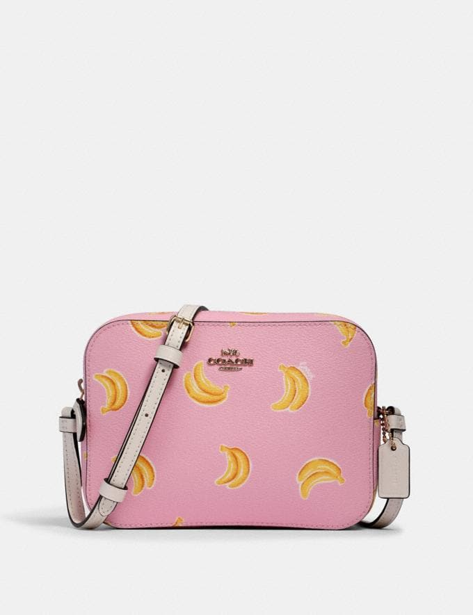 Coach Mini Camera Bag With Banana Print Im/Pink Lemonade Multi What's New
