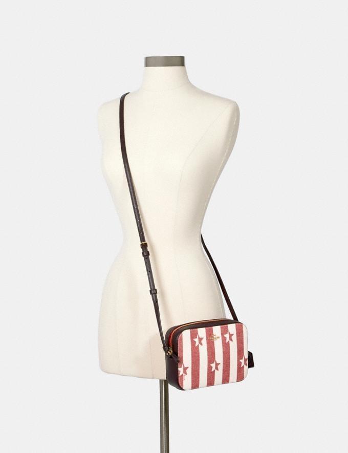 Coach Mini Camera Bag With Stripe Star Print Im/Chalk/ Red Multi  Alternate View 2