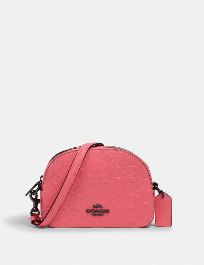 Coach Mini Serena Crossbody in Signature Leather Qb/Pink Lemonade Women