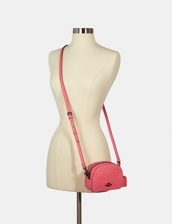 Coach Mini Serena Crossbody in Signature Leather Qb/Pink Lemonade Women Alternate View 3