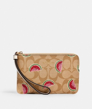 CORNER ZIP WRISTLET IN SIGNATURE CANVAS WITH WATERMELON PRINT