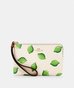 CORNER ZIP WRISTLET WITH LIME PRINT