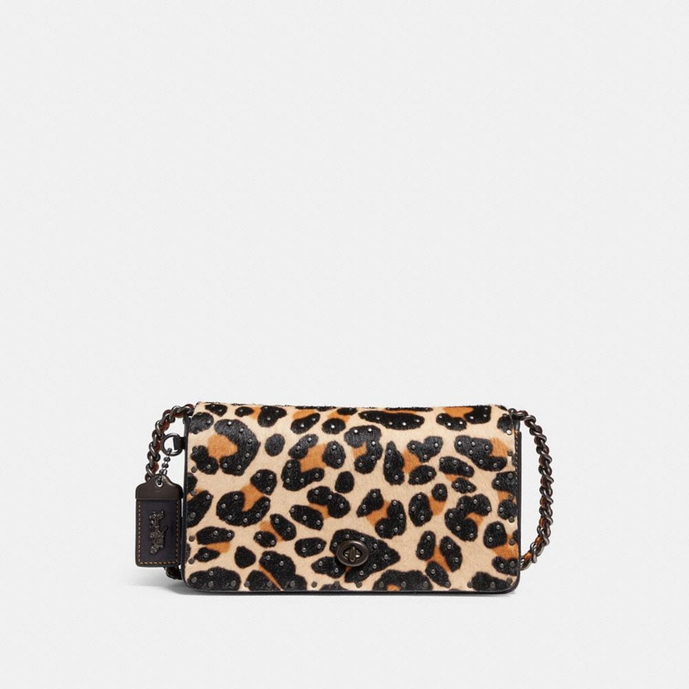 COACH DINKY WITH EMBELLISHED LEOPARD PRINT - WOMEN'S