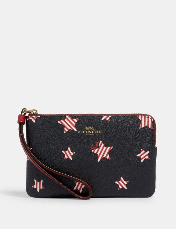 Coach Corner Zip Wristlet With Americana Star Print Im/Navy/ Red Multi