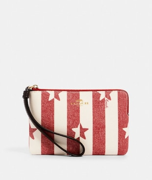 CORNER ZIP WRISTLET WITH STRIPE STAR PRINT