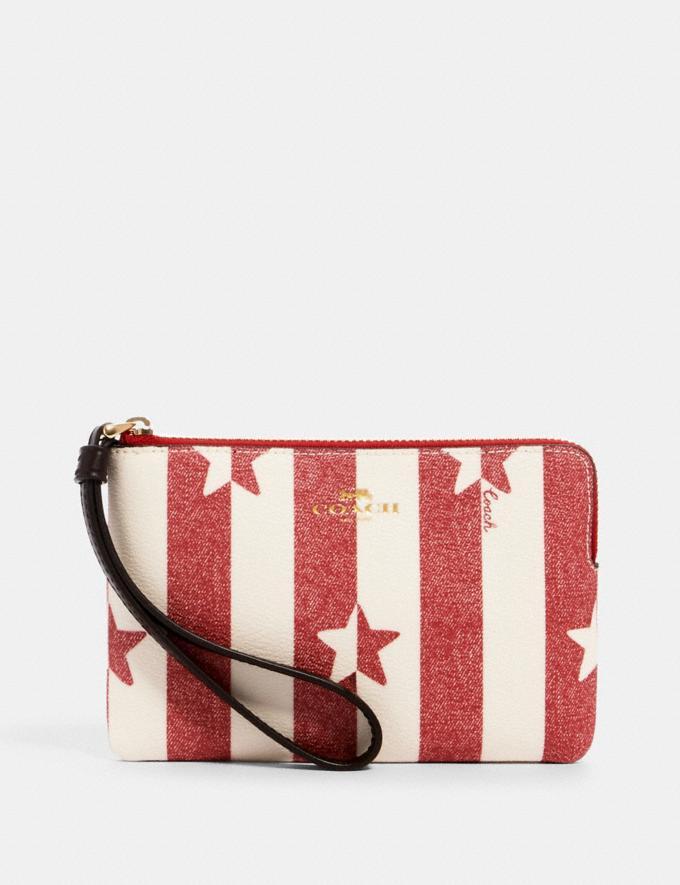 Coach Corner Zip Wristlet With Stripe Star Print Im/Chalk/ Red Multi