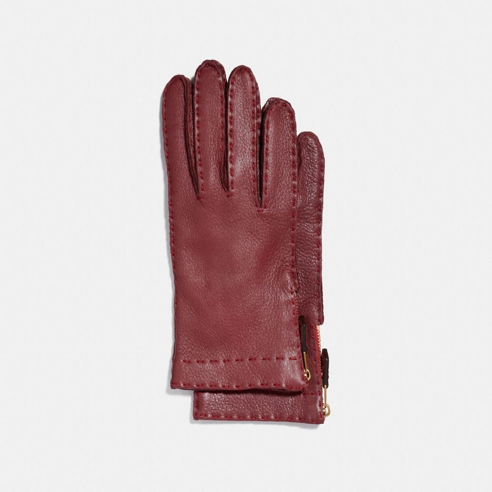 Coach Deerskin Leather Tab Zipper Gloves