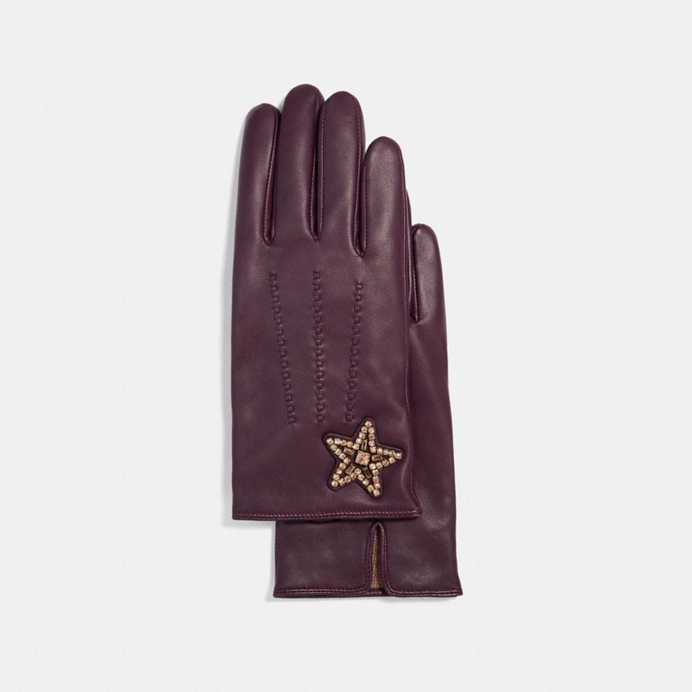 COACH EMBELLISHED STAR LEATHER GLOVES - WOMEN'S