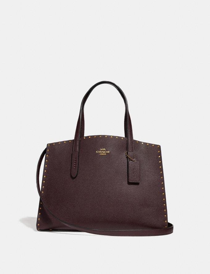 Coach Charlie Carryall With Rivets Oxblood/Brass Women Bags Satchels & Carryalls