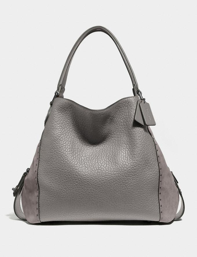 Coach Edie Shoulder Bag 42 With Rivets Heather Grey/Black Copper Women Bags Shoulder Bags