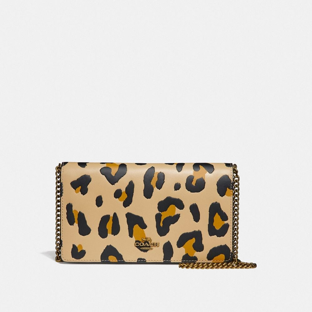 Coach Callie Foldover Chain Clutch With Leopard Print