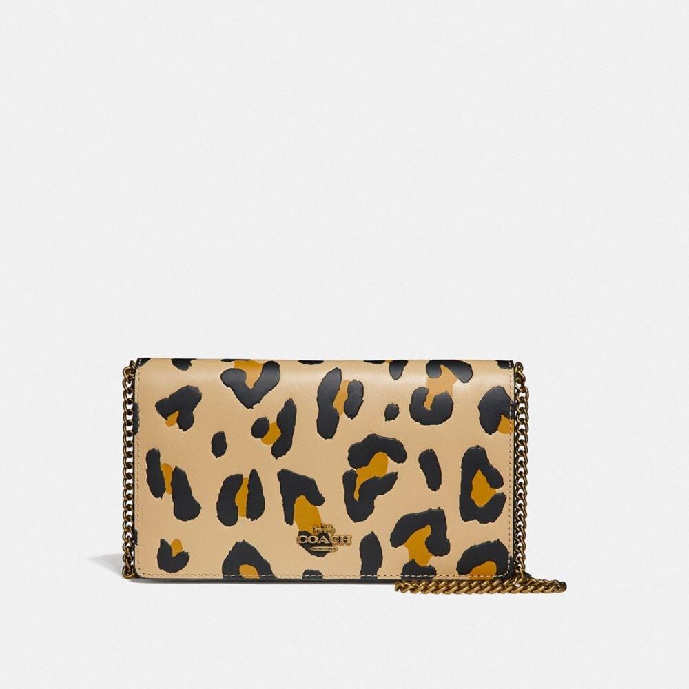 Coach leopard print foldover clutch