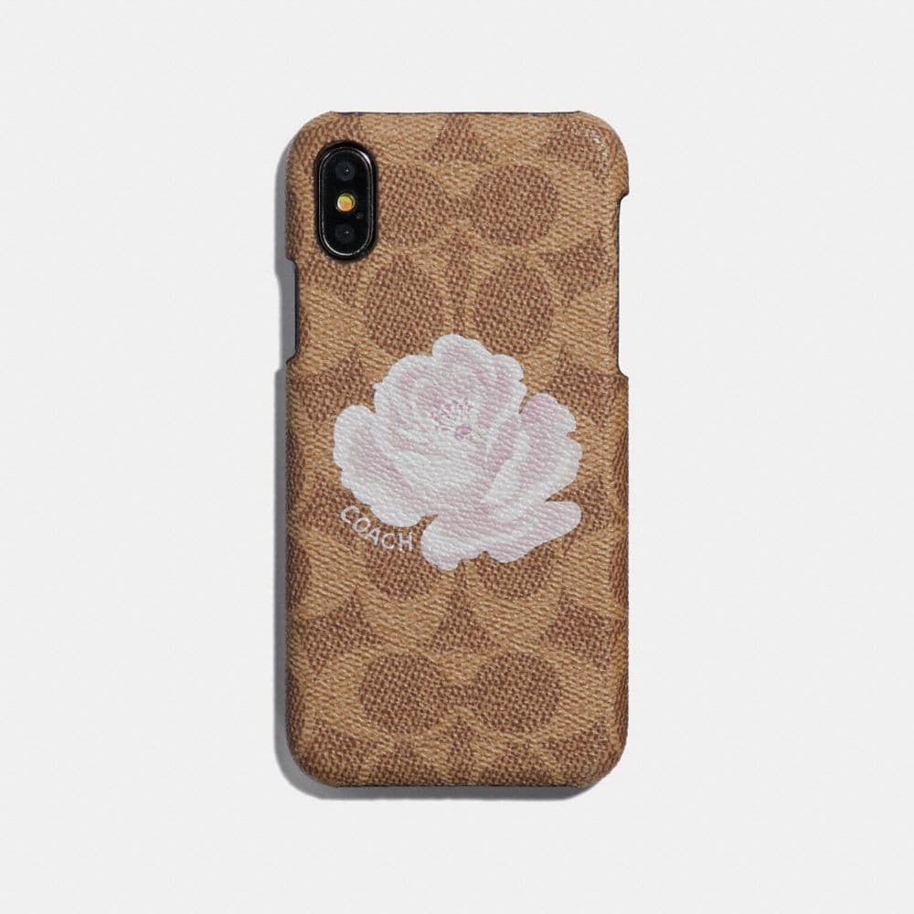 Coach iPhone X Case in Signature Canvas With Rose