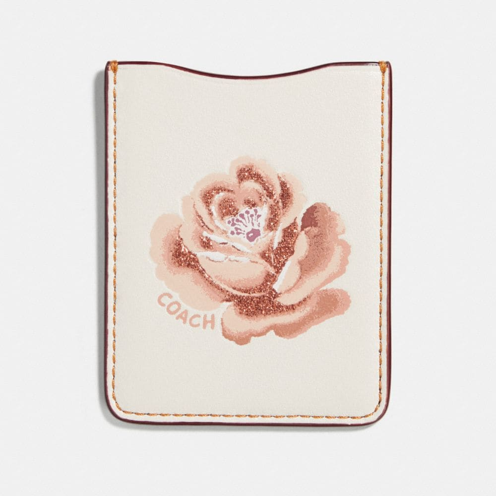 Coach Phone Pocket Sticker With Rose Floral Print