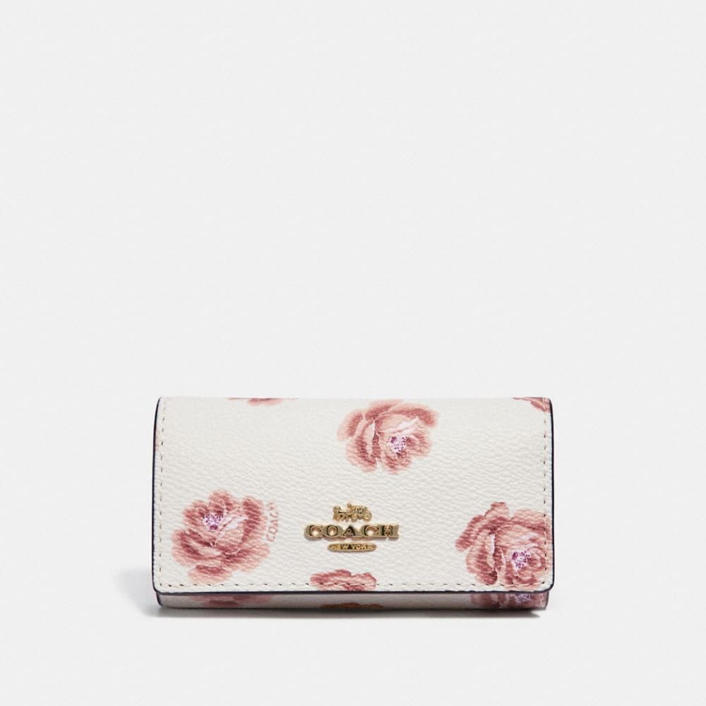 Coach Six Ring Key Case With Rose Print in Chalk Rose Print/Light Gold