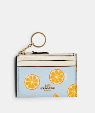 MINI SKINNY ID CASE WITH ORANGE PRINT