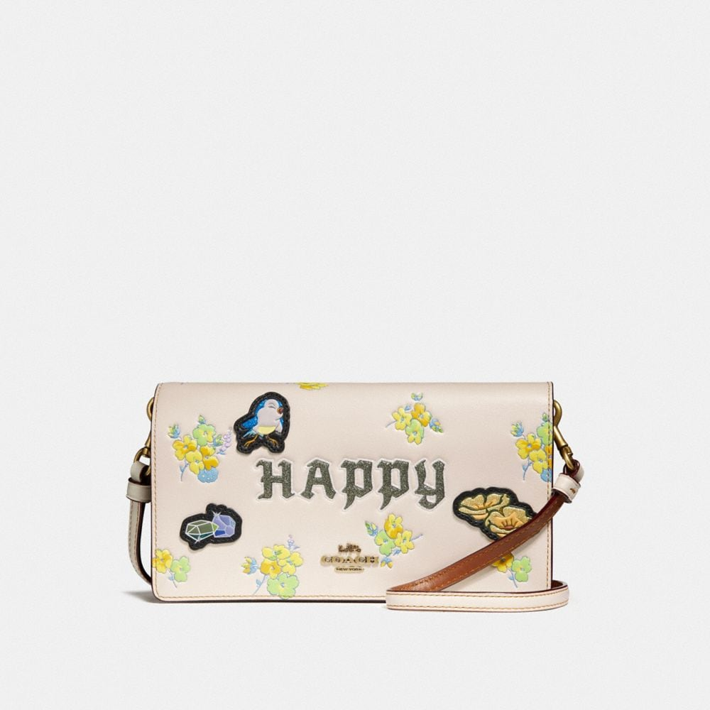DISNEY X COACH HAPPY FOLDOVER CROSSBODY CLUTCH